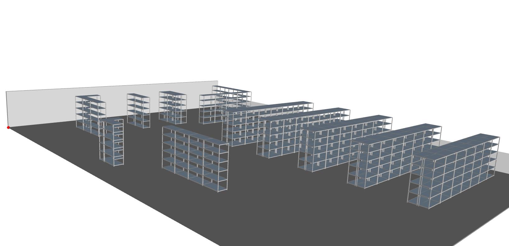 3D estanterías carga manual
